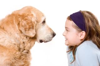 Cute girl and her dog friend