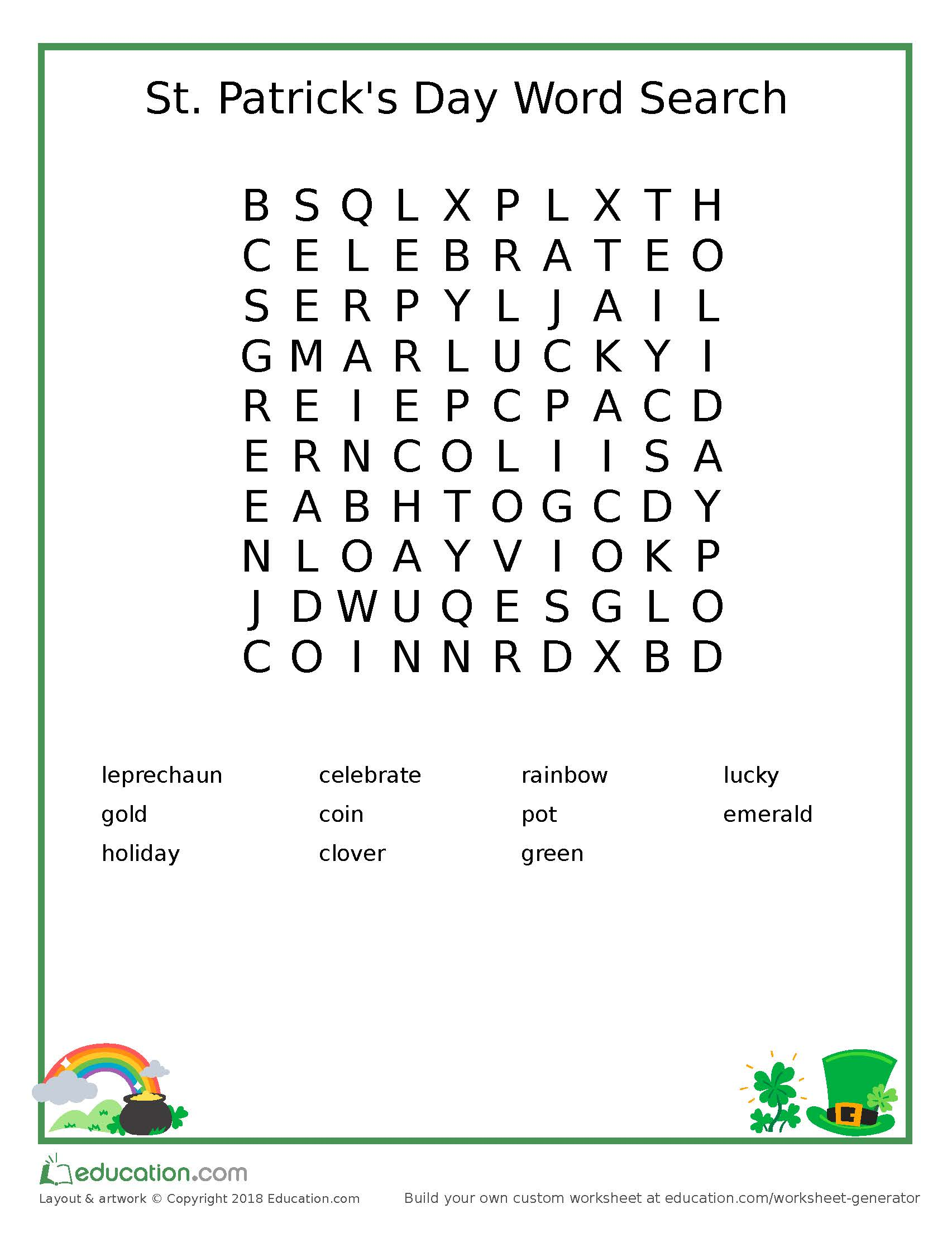 FREE St  Patrick's Day Wordsearch | Practical Parenting Blog